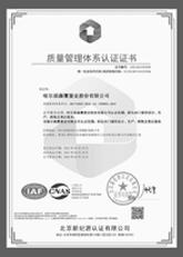 森鹰通过ISO9001:2000质量管理体系认证